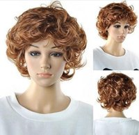 Мода Короткие Коричневые Блондинка Волнистые Кудрявые женские леди Cosplay Парик Парика Парики + Cap