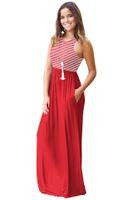 Сексуальные женские полосатые Maxi платья сладкие женские летние лето сплошной цвет панелей совок шеи без рукавов платья без рукавов бесплатная доставка