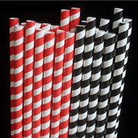 Cannucce Latte duro Paglia grande 8 mm Carta usa e getta Paglia spessa Striscia nera Degradabile 100 pezzi / lotto