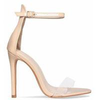 2018 новый розовое золото красный лакированная кожа женщины насосы открыть Toe лодыжки пряжки ремень женщин сандалии ясно ПВХ высокие каблуки Женская обувь