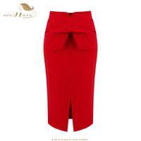SISHION Faldas para mujer faldas Ladies Pencil Fashion S - 5XL Tallas grandes Office Vintage Sexy Vendaje Red Black Skirt VD0408