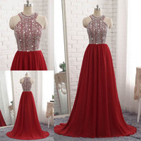 2018 Latest A- Line Jewel Sleeveless Prom Dresses Beaded Sequ...
