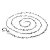 16 inç 30 inç zincir kolye 925 ayar gümüş kolye su dalga zincir kolye takı moq 100 adet