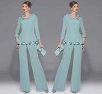 Graceful Mint Green Chiffon Mothers Pants Suit Jewel Necklin...
