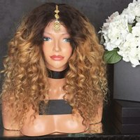 Middle Part 180% Density Ombre Wigs Blonde Kinky Curly Gluel...