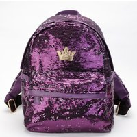 Sequin Backpack Women Crown Patten Schoolbags Shoulder Bag T...