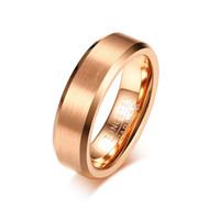 Anillos para hombre simples Vendas de boda de tungsteno Rose Gold Color Matt Surface Classic Casual Mens Anillos de compromiso Joyería masculina Tamaño EE. UU. 8-12