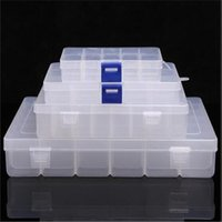 10 15 24 36 Slots Caixa de Armazenamento Plástico Transparente Exposição Case Organizador Suporte para Beads Anel Brinco Jóias