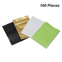 100pcs / Lot Mehrfarben Matt Mylar Folie Zipper Verschluss Paket Beutel Aluminiumfolie Heißsiegel verpackende Beutel für Lebensmittellagerung Einzelhandel Foil Baggies