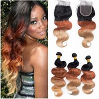 Body Wave # 1B / 33/27 Honey Blonde Ombre cabello virgen teje con cierre de encaje 4x4 Paquetes de cabello humano brasileño de tres tonos