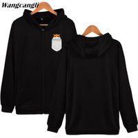 2018 Impressão de bolso Hamster moletom moda kawaii animais de manga longa de algodão hoodies moletom com zíper tamanho xxs-4xl wangcangli