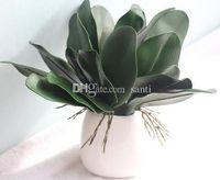 새로운 PU 인공 녹색 나비 난초 잎 플라스틱 꽃 잎 홈 웨딩 파티 장식