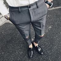 ممزق الصلبة بانت يتأهل الرجال اللباس بانت بنطلون مكتب الرجال pantalon أوم سليم السراويل الرسمية المكسورة للرجل