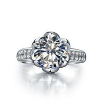 Drop Shipping Personnalisé 4CT Lotus Bague de Fiançailles SONA Diamant Synthétique Pour Les Femmes 925 En Argent Sterling Platine Plaqué Bijoux