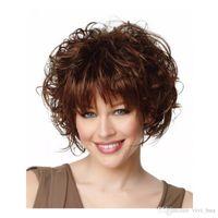 الجديد قصير شقراء غريب مجعد الباروكات مناسبة ل النساء البيض الشعر الاصطناعية ارتفاع الحرارة الألياف pelucas بيلو perruque perucas الطبيعي XT816