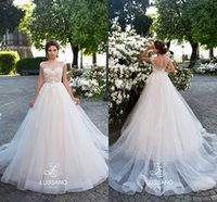 2018 Elegant Ivory Capped Sleeves A Line Tulle Wedding Dress...