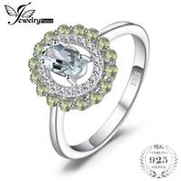 JewelryPalace Mode 1ct Véritable Rond Péridot Ovale Vert Améthyste Anneau 925 En Argent Sterling Nouveau Pour Les Femmes Cadeau Unique D1892604