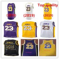 official photos ae537 81c3e 2018-19 New Jersey di Los Angeles Laker 23 LeBron James Lakers La città  Whish Ricami Loghi 100% cuciti Giallo Viola Bianco Nero Maglie