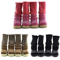 الغزلان جلد الكلب أحذية الثلج تيدي الكلب أحذية الشتاء نمط الحيوان الشتاء أحذية مكافحة زلة القطن والجلود الناعمة أحذية للماء دافئ