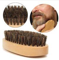 Новый Кабан волос щетина борода усы щетка военная жесткий круглый деревянной ручкой антистатические персиковый гребень парикмахерский инструмент для мужчин