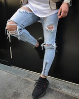 Men Hiphop Jeans Light Blue Holes Distressed Long Pencil Pan...