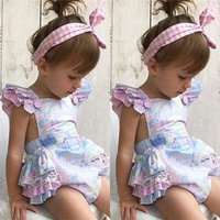 New Sweet Baby Girls Floral Romper Jumpsuit Outfits Sleevele...