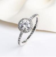 حقيقي 925 الفضة الاسترليني تشيكوسلوفاكيا خواتم الماس مع شعار صالح باندورا نمط خاتم الزواج مجوهرات للنساء 12pcs / lot يمكنك مختلط الحجم