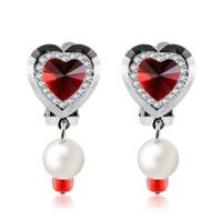 1 Çift Kalp Şekli Klip Küpe Kızlar Çocuklar Için Sevimli Klip Inci Kristal Kulak Klipleri Takı