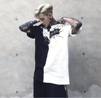 Mens T- shirts High Street Black And White Patchwork Hip Hop ...