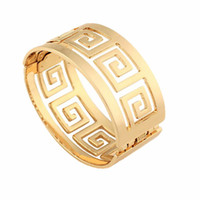 New High- grade Gold- plated Geometric Hollow Bracelet Roman N...