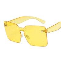 Top plano color caramelo integrado lente mujeres gafas de sol gafas de sol 2018 recién llegado regalo decoración de uñas hombres sin borde amarillo rojo teñido gafas de moda