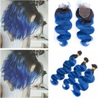 Body Wave 1B / Blue Ombre Indisches Jungfrau-Menschenhaar bündelt Angebote mit Verschluss Ombre Blue Hair Weaves Extensions mit 4x4 Lace Closure Piece