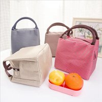Women Portable Lunch Bag Canvas Stripe Insulated Cooler Bags...