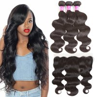 Brazilian 10A Human Hair Weaves Body Wave 3 Bundles with Fro...