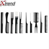 10шт расчески антистатические углерода щетка для волос профессиональный про салон волос инструменты для укладки парикмахерские парикмахеры ручка кисти