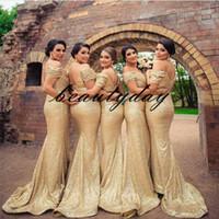 Champagne Gold Sequins кружева выпускные платья вечерние платья с плеча пляжа вечеринка гость платье подружка невесты по чести платье дешево