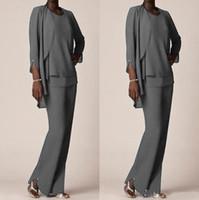 Benutzerdefinierte graue formale Hose Anzüge für Mutter Bräutigam Kleider Chiffon Abendgarderobe lange plus Größe Mutter der Braut Kleider mit Jacken