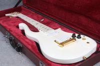 Rara Neck Thru Cuerpo de serie Diamond Alpine White Prince Nube guitarra eléctrica de oro Tapa del Tensor, Perillas Negras, Tuerca de latón, Botón de oro de la correa