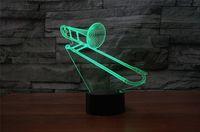 Trombone 3D Illusion Visuelle Lampe Transparent Acrylique Veilleuse 7 Couleur Changeante Toucher Lampe De Table Enfants Lave