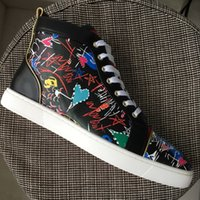 New 2018 Mens Womens Printed Black Genuine Leather High Top ...