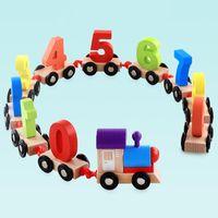 الأطفال الصغار الصغيرة الرقمية قطار خشبية 0-9 عدد أرقام سكة حديد خشب نموذج الاطفال تربية هدية عيد ميلاد لعبة