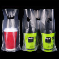 Clear Plastic Beverage Carrier Take Out Bag Two Design Drink...