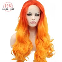 Honrin Hair Natural Wave Wig Ombre Orange Synthetic Lace Fro...
