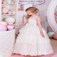 Cheap Ivory Flower Girl Dresses Young Girls Junior Bridesmai...