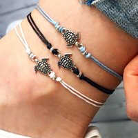Vintage Leather Rope Anklets for Women Retro Turtle Anklet S...