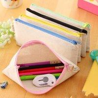 연필 펜 가방 문구 경우 지퍼 DIY 에코 친화적 인 천연 캔버스 빈의 일반 가방 선물 스토리지 파우치 학교 용품 클러치
