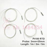 2x PT100 Platinum Resistance 3mm * 20mm czujnik RTD Mini temperatura sonda -40 ~ 400 stopni z 1 miernikiem 2 m 5 m drutu o wysokiej temperaturze