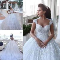 Милая декольте дизайн кружева свадебные платья без рукавов собор с бисером 3d цветочные цветы свадебные свадебные платья