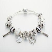 925 esterlina banhado a prata encantos pingentes de coração diy pulseira para pandora charme 3mm cobra cadeia pulseira jóias presente