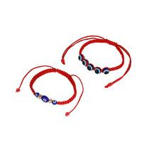 12 pcs yeux turcs perles de résine fil rouge chaîne tressée chanceux bracelet bracelet bracelet de cheville cheville